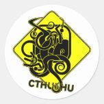 Advertencia: Pegatinas de Cthulhu Pegatina Redonda