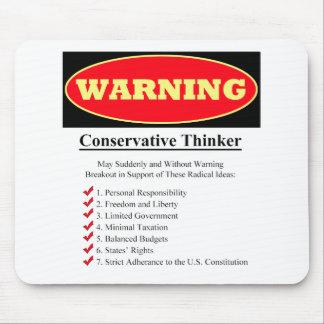Advertencia: Pensador conservador Tapetes De Raton