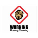 Advertencia - pensamiento del mono tarjetas postales