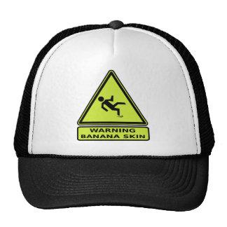 ¡Advertencia! Piel de plátano. Advierta otros para Gorras De Camionero