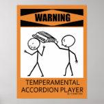 ¡Advertencia! Poster temperamental del jugador del