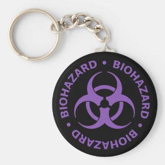 Advertencia púrpura del Biohazard Llaveros