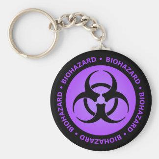 Advertencia púrpura del Biohazard Llavero Redondo Tipo Pin