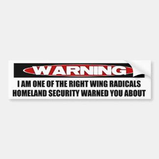 Advertencia: Radical de la derecha Pegatina De Parachoque