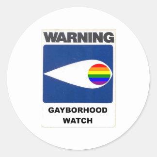 Advertencia:  Reloj de Gayborhood Pegatina Redonda