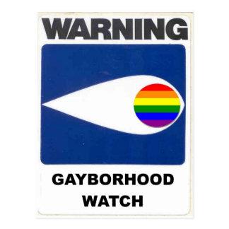 Advertencia:  Reloj de Gayborhood Tarjetas Postales