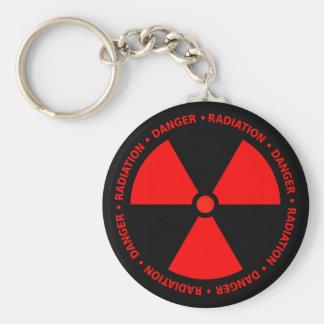 Advertencia roja de la radiación llavero redondo tipo pin