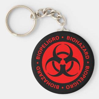 Advertencia roja del Biohazard Llavero Redondo Tipo Pin