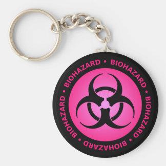 Advertencia rosada del Biohazard Llavero Redondo Tipo Pin