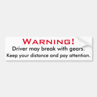 Advertencia: Rotura con los engranajes Pegatina Para Auto