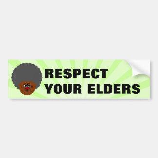 Advertencia severa del jubilado: Respete sus ancia Etiqueta De Parachoque