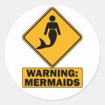 Advertencia: Sirenas Etiqueta Redonda