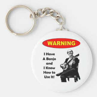¡Advertencia! Tengo un banjo y sé utilizarlo Llavero Redondo Tipo Pin