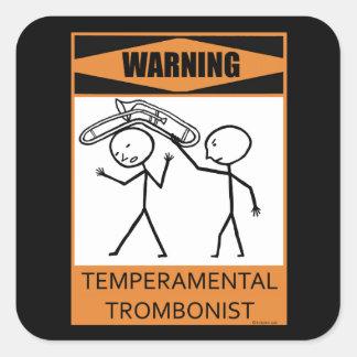 ¡Advertencia Trombón temperamental Pegatina