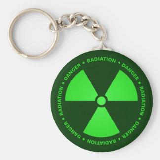 Advertencia verde de la radiación llavero redondo tipo pin