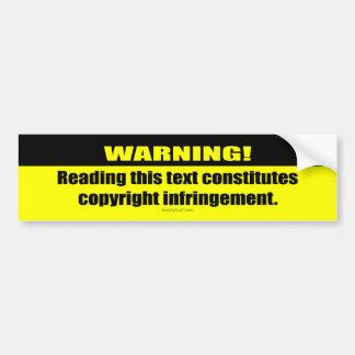 ¡Advertencia! Violación de derechos de autor Pegatina De Parachoque