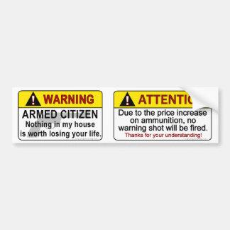 Advertencias armadas del ciudadano pegatina de parachoque