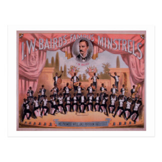 Advertisement for 'I.W. Bairn's Famous Minstrels' Postcard