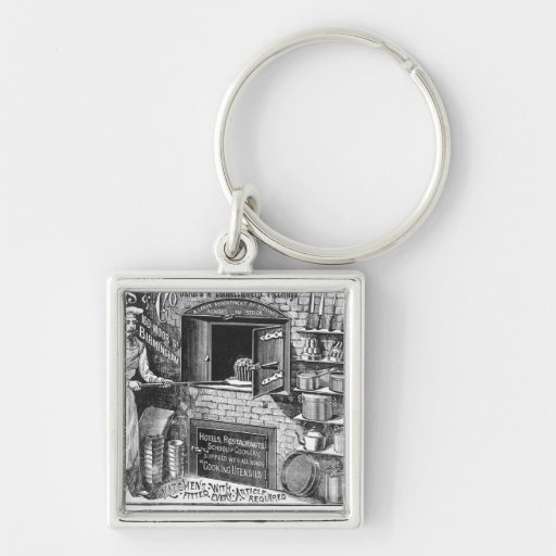 Advertisement for Lomas and Co. Silver-Colored Square Keychain