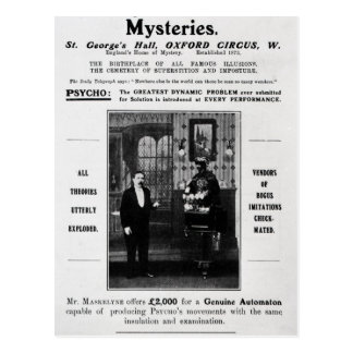 Advertisement for Maskelyne & Devant's Mysteries Postcard