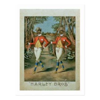 Advertisement for the 'Harley Brothers' (colour li Postcard