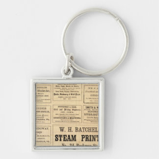 Advertisements for oil Silver-Colored square keychain