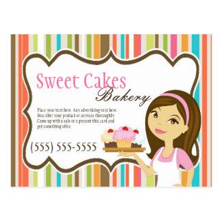 Advertising Card Bakery Brunette Baker Cup Cakes Postcard