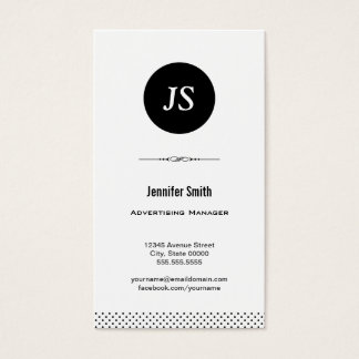 Advertising Manager - Clean Black White Business Card