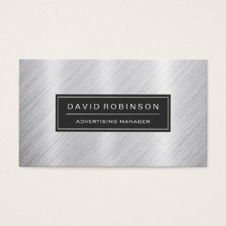 Advertising Manager - Modern Brushed Metal Look Business Card