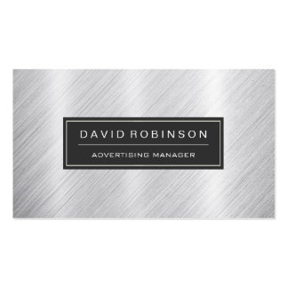 Advertising Manager - Modern Brushed Metal Look Double-Sided Standard Business Cards (Pack Of 100)