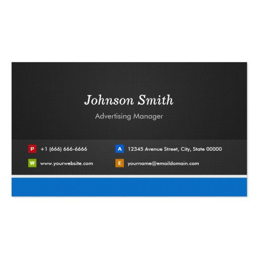 Advertising Manager - Professional Customizable Business Card