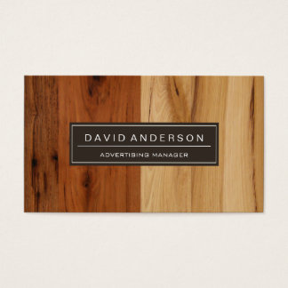 Advertising Manager - Wood Grain Look Business Card