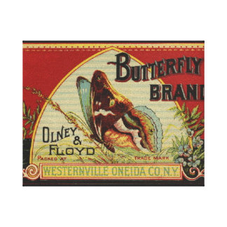 Advertising Vintage Label Butterfly Brand Canvas Print