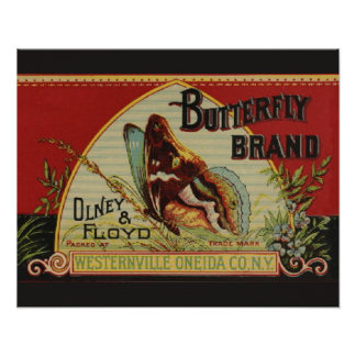 Advertising Vintage Label Butterfly Brand Poster