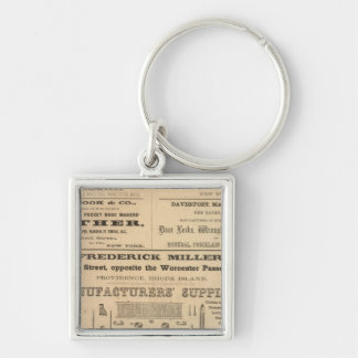 Advertisments by nine companies Silver-Colored square keychain