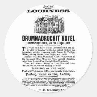 Adverts-Scotland-Lochness-Drumnadrochit-Hotel Classic Round Sticker