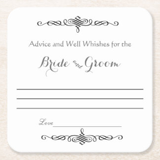 Advice and Well Wishes, Bride and Groom Square Paper Coaster