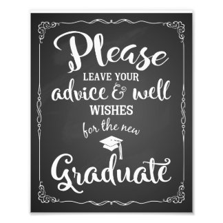 advice and well wishes graduation party sign photo print