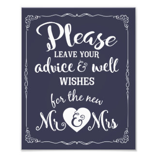 advice and well wishes party wedding sign