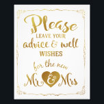 "advice and well wishes party wedding sign gold<br><div class=""desc"">advice and well wishes party wedding sign</div>"