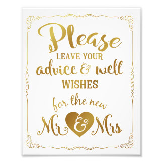advice and well wishes party wedding sign gold photo print