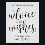 "Advice and Well Wishes Wedding Decor Sign<br><div class=""desc"">Modern and elegant advice and well wishes sign perfect for your wedding reception!</div>"