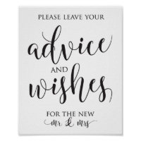 Advice and Well Wishes Wedding Decor Sign