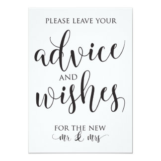 Advice and Well Wishes Wedding Decor Sign Card