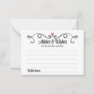 Advice and Wishes for New Mr Mrs Wedding Cards