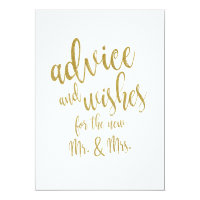 Advice and Wishes Gold Affordable Wedding Sign Card