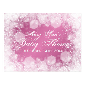 Advice Card Baby Shower Night Sparkle Pink Post Card