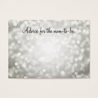 Advice Card Baby Shower Silver Glitter Lights