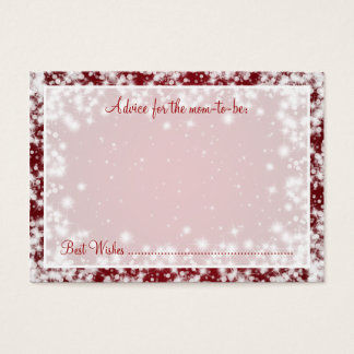 Advice Card Baby Shower Winter Sparkle Red