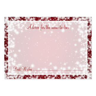Advice Card Baby Shower Winter Sparkle Red Business Cards